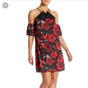 NWT Anna Sui Red Rose Off Shoulder Dress Size M